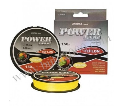 ENERGO TEAM ПЛЕТЕНО ВЛАКНО POWER BRAID TEFLON YELLOW 0.18мм. 150м.